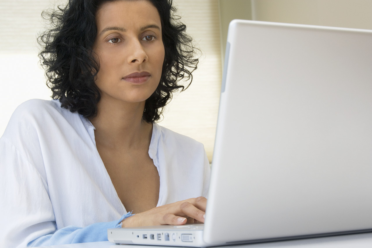 woman with laptop image